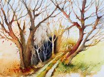 Weg, Stimmung, Aquarellmalerei, Herbst