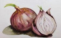 Zwiebeln, Gemüse, Stillleben, Aquarellmalerei
