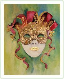 Venedig, Rot, Grün, Maske