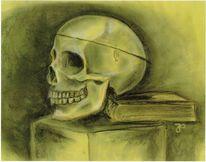 Schädel, Malerei, Buch
