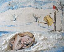 Schlaf, Rotkehlchen, Winter, Gießkanne