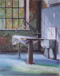 Bügel, Bügelbrett, Pastellmalerei, Waschbecken