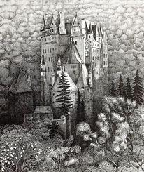 Burg eltz, Neujahr, Federzeichnung, Gotik