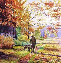 Hund, Aquarellmalerei, Buntes laub, Licht