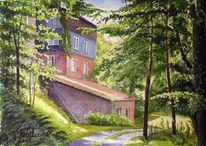 Schloßau, Aquarellmalerei, Verlassene dörfer, Landschaft