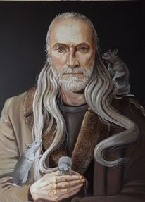 Ölmalerei, Hungerkünstler, Odenwald, Selbstportrait