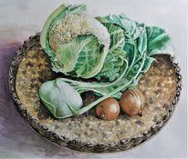 Gemüse, Korb, Aquarellmalerei, Blumenkohl