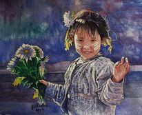 Aquarellmalerei, Winken, Mädchen, Freundlich