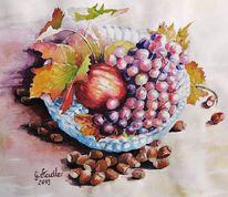 Trauben, Bunt, Apfel, Herbstfarben