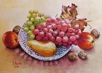 Stillleben, Birne, Aquarellmalerei, Herbst