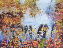 Herbstlaub im wasser, Spiegelung, Herbst, Aquarellmalerei