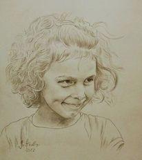 Portrait, Lachen, Odenwald, Skizze