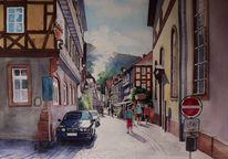 Odenwald, Burg, Ausblick, Aquarellmalerei
