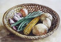 Aquarellmalerei, Korb, Gesund, Gemüse