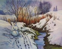 Saugasse, Aquarellmalerei, Landschaft, Mudau