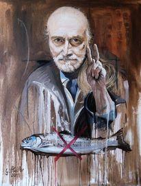 Fisch, Realismus, Selbstportrait, Ölmalerei