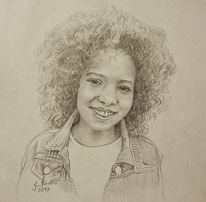 Bleistiftzeichnung, Fröhlichkeit, Karton, Portrait