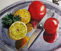 Tomaten und zitronen, Aquarellmalerei, Essen, Stillleben