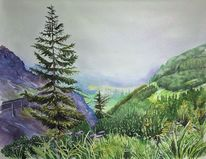 Landschaftsmalerei, Urlaub, Tirol, Aquarellmalerei