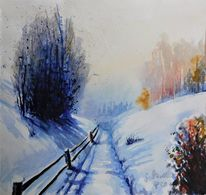 Spaziergang, Schnee, Malerei, Sonne