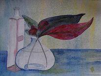 Glasvase, Stillleben, Flasche, Aquarellmalerei