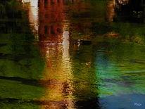Teich, Wasser, Spiegelung, Farben