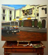 Realismus, Ölmalerei, Auto, Bus