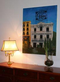 Realismus, Ölmalerei, Schild, Haus