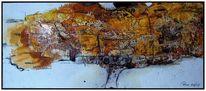 Aquarellmalerei, Marmormehl, Wachs, Abstrakt