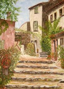 Landschaft, Ölmalerei, Spachteltechnik, Malerei