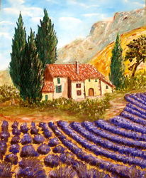 Lavendelfeld, Provence, Malerei,