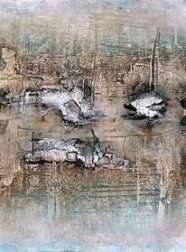 Abstrakt, Ölmalerei, Ohne titel, Aquarellmalerei