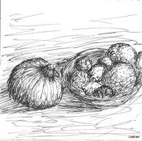 Schwarzweiß, Zeichnungen, Obst
