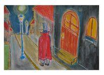Stadt, Haus, Menschen, Tür