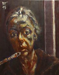 Pinsel, Selbstportrait, Licht, Dunkel