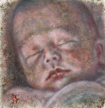 Baby, Rot, Malerei, Schlaf