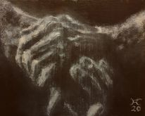 Dunkel, Hände, Licht, Malerei