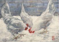 Huhn, Weiß, Schnee, Malerei