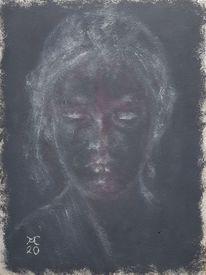 Dunkel, Frau, Hell, Malerei