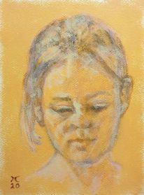 Frau, Orange, Malerei