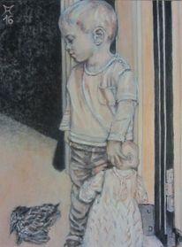 Junge, Puppe, Tür, Dunkel
