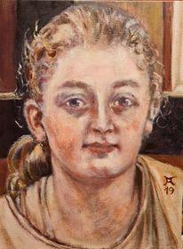 Mädchen, Kreuz, Fenster, Malerei