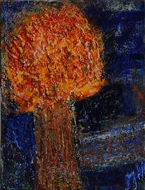 Orange, Braun, Baum, Blau