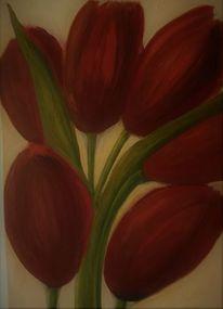 Frühling, Temperamalerei, Mischtechnik, Tulpen