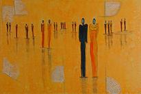 Museumsbersuch, Gelb, Menschen, Abstrakt
