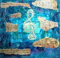 Musik, Collage, Noten, Blau