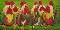 Gras, Bunte hühner, Henn, Huhn