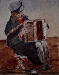 Alter mann, Akkordeon, Straßenmusiker, Malerei