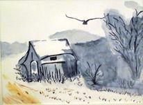 Schattenspiel, Winterlandschaft, Schottland, Malerei