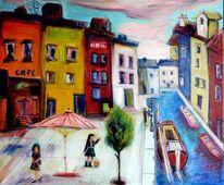 Haus, Bunt, Farben, Wasser